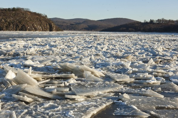 Broken ice on the Hudson River during the polar vortex